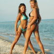 Stock Photo: Two beautiful sexual girls pose on beach in swimsuit
