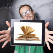 Good Looking Smart Nerd Man With Tablet Computer and book on scr — Stock Photo