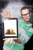 Good Looking Smart Nerd Man With Tablet Computer and book - Digi — Stock Photo