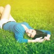 Stock Photo: Young woman joy and relaxing in park