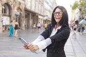 Smiling Woman With Tablet Computer — Stock Photo