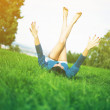 Young woman joy and relaxing in park - Stock Photo