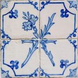 Blue tiles detail of Portuguese glazed — Stock Photo