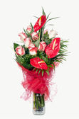 Red Anthurium and Pink Roses — Stock Photo