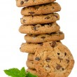 Chocolate cookies with mint leaves - Stock Photo
