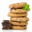 Chocolate chip cookies with chocolate parts — Stock Photo