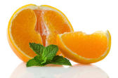 Orange fruit segment and mint leaf — Stock Photo