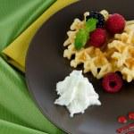 Tasty waffle with fruits — Stock Photo
