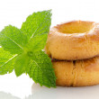 Baked cookies with mint - Stock Photo