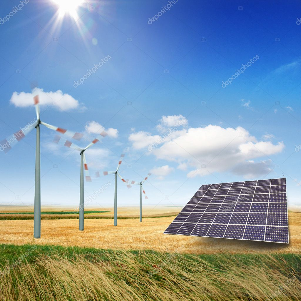 Wind turbines and solar panels generate electricity  Stock Photo #11050376