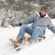 Sled runs great young — Stock Photo