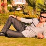 Man posing in sunglasses — Stock Photo