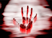 Bloody handprints — Stockfoto