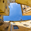 urban neighborhoods photographed with fisheye — Stock Photo