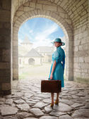 Portrait of a traveler in a retro style — Stock Photo
