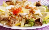 Creative fresh salad from seafood — Stock Photo