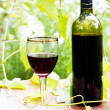 Stock Photo: Red wine bottle, glass