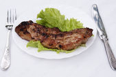 Appetizing juicy fried meat — Stock Photo