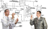 Designing engineering automation system.Teamwork — Stock Photo