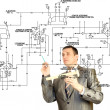 Stock Photo: Engineering designing automation schema