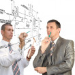 Engineering  designing. Teamwork — Stock Photo