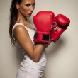 Girl with the boxing gloves — Stock Photo