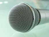Metallic microphone taken closeup. — Stock Photo