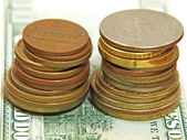 Two coins stacks.Closeup. — Stock Photo