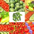 Set of different vegetables and strawberryes. — Stock Photo