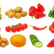 Set of different fresh vegetables.Isolated. — Stock Photo