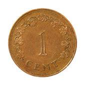 Malta un cent.isolated monet. — Foto de Stock
