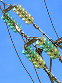High voltage electrical insulator.Closeup. — Stock Photo