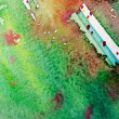 Watercolor Green and Red Abstract Background — Stok fotoğraf
