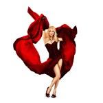 ung kvinna dansar med rött siden — Stockfoto