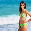 Young Smiling Brunette Woman on the Beach — Foto Stock