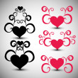Stock Vector: Abstract red hearts