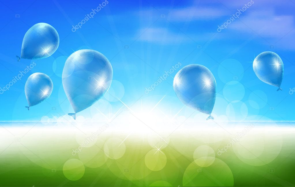 Nature Background with Balloons  Stock Vector #11580763