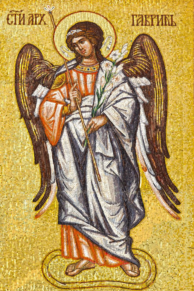 Archangel  Gabriel' s mosaic icon on Serbian Orthodox church wall. — Stock Photo #10807007