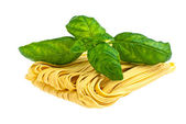 Pasta with basil. — Stock Photo
