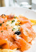 Pasta with salmon — Stockfoto