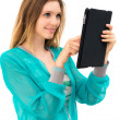 Woman holding in hand a tablet touch pad — Stock Photo