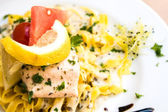 Pasta with salmon — Stock fotografie