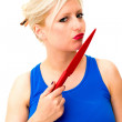 Woman is holding a knife — Stock Photo