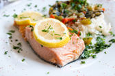 Grilled salmon and rice — Foto de Stock