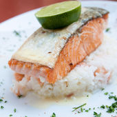 Grilled salmon and rice — Fotografia Stock