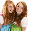 Two happy bavarian redhead women — Stock Photo