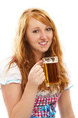Pretty bavarian girl with a glass of beer — Stock Photo