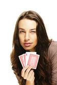 Tesa alla ricerca di donna giocando a poker — Foto Stock
