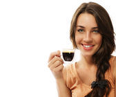 Beautiful happy woman with a cup of espresso coffee — Stock Photo