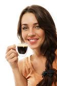 Donna sorridente felice con una tazza di caffè espresso — Foto Stock